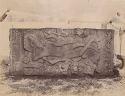 Large sculptured slab of Anantashayana (Vishnu sleeping on the serpent Ananta in the cosmic ocean), at Dharwar.